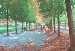 Autumn in Paris by Charles Rowbotham - Original Painting on Board sized 17x12 inches. Available from Whitewall Galleries